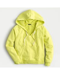 J.Crew Garment-dyed V-neck Hoodie In Original Cotton Terry - Yellow