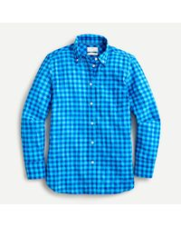 J.Crew Classic-fit Shirt In Crinkle Gingham - Blue