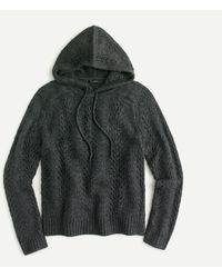 J.Crew Sweater-hoodie In Pointelle Stitch - Grey