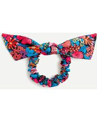 Liberty Bow Scrunchie In ® Floral Print - Blue
