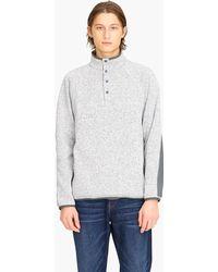 J.Crew - Sweater Fleece Buttoned Mockneck Pullover - Lyst