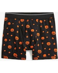 J.Crew Knit Boxer Brief In Pumpkin Print - Black