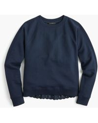 J.Crew - Eyelet-back Sweatshirt - Lyst