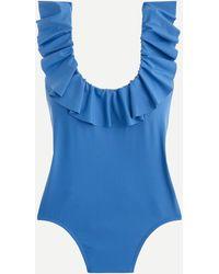 J.Crew Ruffle Scoopback One-piece Swimsuit - Blue