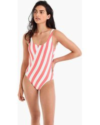 9e02bd087a8c6 J.Crew Plunging Scoopback One-piece Swimsuit in Orange - Lyst