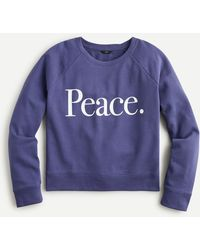 "J.Crew ""peace"" Sweatshirt In Original Cotton Terry - Blue"