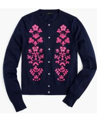 J.Crew - Jackie Cardigan Jumper In Floral Embroidery - Lyst