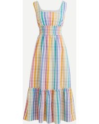 J.Crew Square-neck Dress In Rainbow Gingham - Blue