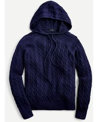 J.Crew Cable-knit Hoodie In Cotton-cashmere - Blue