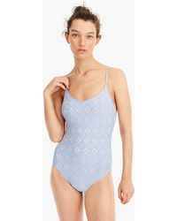 J.Crew - Strappy V-neck One-piece Swimsuit In Laser-cut Eyelet - Lyst
