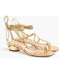 J.Crew Lace-up Strappy Sandals In Metallic Leather