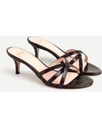 J.Crew Skinny-strap Sandals In Croc-embossed Leather - Brown