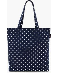 J.Crew Reusable Everyday Canvas Tote In Polka Dot - Blue