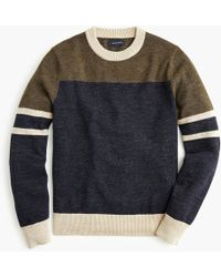 J.Crew - Cotton-wool Crewneck Sweater In Colorblock - Lyst