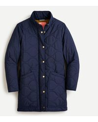 J.Crew Quilted Cocoon Puffer With Primaloft® - Blue