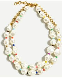 J.Crew Rainbow Pop Pearl Layered Necklace - Multicolor