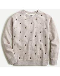J.Crew Embellished Sweatshirt In Original Cotton Terry - Grey