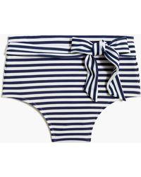 J.Crew Striped High-waisted Bikini Bottom With Belt - Blue