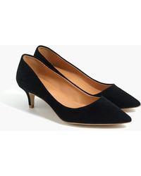 J.Crew Esme Suede Kitten Heels - Black