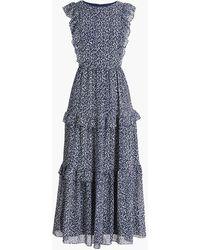 J.Crew Tiered Ruffle Maxi Dress - Blue