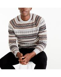 J.Crew Striped Fair Isle Crewneck Sweater In Supersoft Wool Blend - Gray