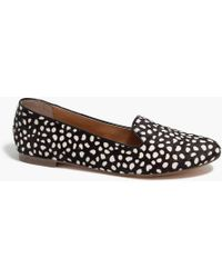 bf2fd01d617 Lyst - J.Crew Cora Leopard Calf Hair Loafers in Black