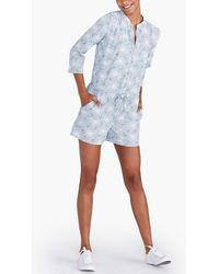 J.Crew Three-quarter Sleeve Printed Denim Romper - Blue