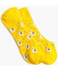 J.Crew Llama No-show Socks - Yellow