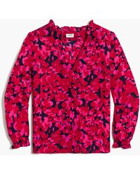 J.Crew Printed Ruffleneck Button-up Top - Red
