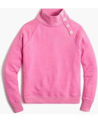 J.Crew Button-collar Pullover Sweatshirt - Pink