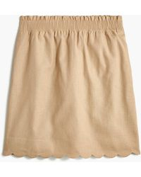 J.Crew Scalloped Linen-cotton Skirt - Natural