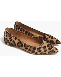J.Crew Marina Leopard Calf Hair Pointy-toe Flats - Brown