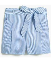 J.Crew Tie-waist Short In Cotton Poplin - Blue