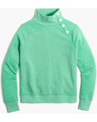 J.Crew Button-collar Pullover Sweatshirt - Green
