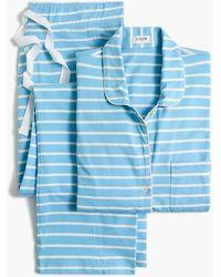 J.Crew Petite Striped Knit Pajama Set - Blue