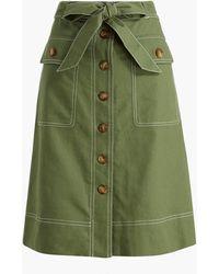 J.Crew Linen-blend Button-through Belted Midi Skirt - Green