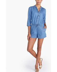 J.Crew Three-quarter Sleeve Denim Romper - Blue