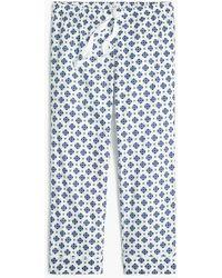 J.Crew Cropped Sleep Pant In Cotton Poplin - Blue