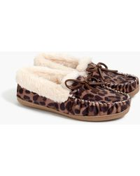 J.Crew Leopard Calf Hair Moccasin Slippers - Brown