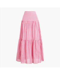 J.Crew Tiered Maxi Skirt - Pink