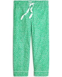 J.Crew Cropped Sleep Pant In Cotton Poplin - Green