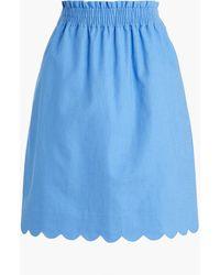 J.Crew Scalloped Linen-cotton Skirt - Blue