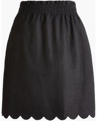 J.Crew Scalloped Linen-cotton Skirt - Black