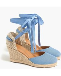 J.Crew Chambray Ankle-wrap Espadrille Wedges - Blue