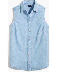 J.Crew Petite Chambray Button-up Shirt In Signature Fit - Blue