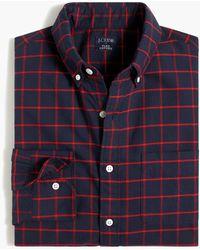 J.Crew Tattersall Regular Flex Oxford Shirt - Blue