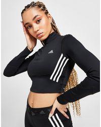 adidas 3-stripes Mesh Crop 1/4 Zip Top - Black