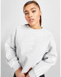 adidas Originals 3-stripes Repeat Trefoil Crop Crew Sweatshirt - Gray
