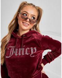 Juicy Couture Diamante Logo Velour Hoodie - Red