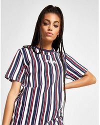Fila Logo Striped Boyfriend T-shirt - Blue